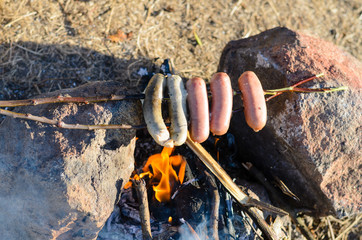 Sausages and Weiners on Stick Cooking over Fire