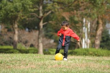 ボールを蹴る幼児(3歳児)