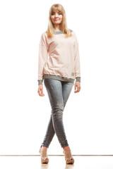 blonde fashion woman in shirt denim pants