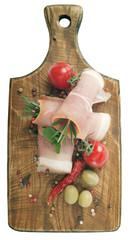 Coppa pork collar ham. Cold cuts on wood. Rustic ham prosciutto