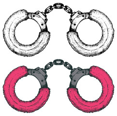 Pink handcuffs. Doodle style