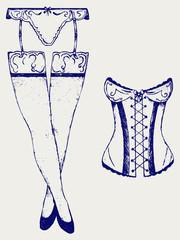 Woman in corset, fashion lingerie. Doodle style