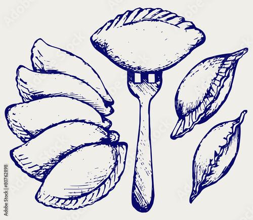 Dumplings, food set. Doodle style - 80762898