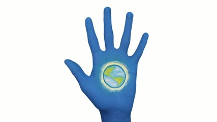 Blue Hand Opens To Reveal Earth