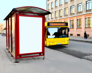 The bus-stop on the city street