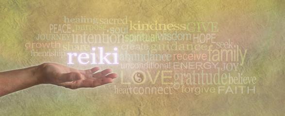 Reiki Share Wordcloud Parchment Website Banner