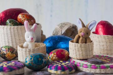 Huevos y conejo de pascua