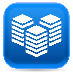 Icon with Layered Tower Symbol for Webhosting, Server, Database