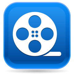 Rounded Square Icon with Film Roll Symbol
