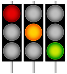 Traffic Lamps, Traffic Lights, Semaphores Isolated on White. Edi