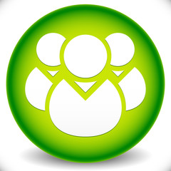 Green Icon with Character Symbol. Icon with Group of 3 People fo