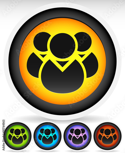 poster of Icon with Character Symbol. Icon with Group of 3 People for Gath