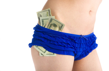 Woman in Blue Underwear with US Dollars on Side