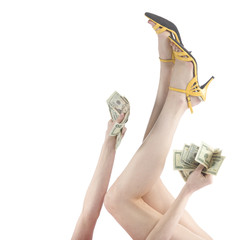 Woman Raising her Legs and Arm with US Dollars