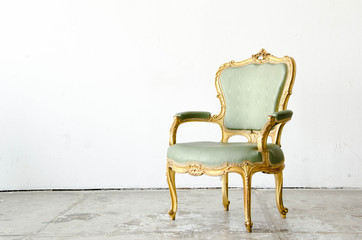 Luxurious green classical style Armchair sofa couch in vintage r