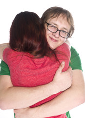 Happy Boyfriend Hugging her Girlfriend So Close
