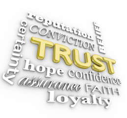 Trust 3d Word Collage Assurance Credibile Reputation Loyalty