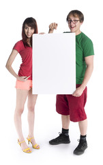 Young Couple Holding Empty White Cardboard