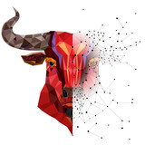 Red bull head with geometric pattern- Vector illustration