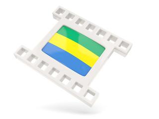 Movie icon with flag of gabon