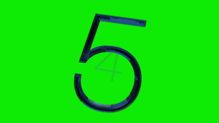 Stylish countdown from 9 to 0, blue glass digits greenscreen