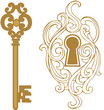 Key hole and golden key - 80768427