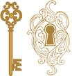 Key hole and golden key