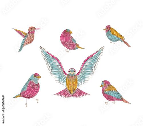 Deurstickers Geometrische dieren A collection of cute hand-drawn bird doodles