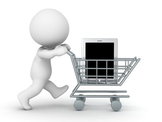 3D Character with Shopping Cart Buying One Large Tablet
