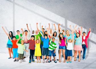 Community Children Multiethnic Cheerful Happiness Concept