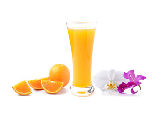 Orange juice and beautiful  orchids on white