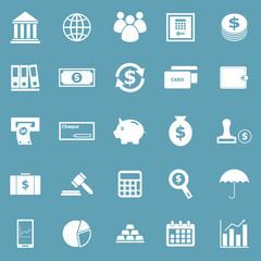 Banking icons on blue background