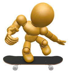 3D Wood Doll Mascot to play skateboard. 3D Wooden Ball Jointed D