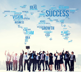 Success Growth Vision Ideas Team Business Plans Connect Concept