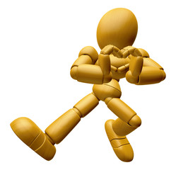 3D Wood Doll Mascot is loving finger gestures. 3D Wooden Ball Jo