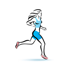 running woman silhouette, outlined vector sketch, fitness concep