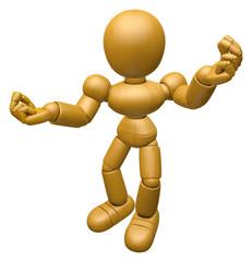 3D Wood Doll Mascot is money gestures of both hands. 3D Wooden B