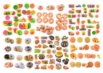 dessert, bread, cake, donuts, breadsausages isolated on white ba