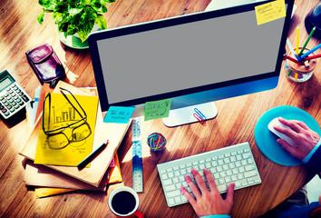 Businessman Working Responsive Web Design Concept