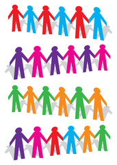 Rows of Cut out People Joining Hands Vector Illustration