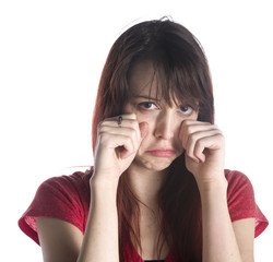 Woman in Crying Gesture with Hands on her Face