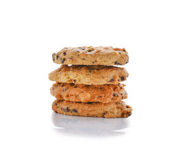 Cookies with chocolate chips on a white background
