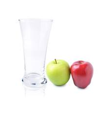 glass and  apple on white background