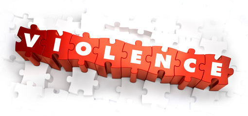 Violence - Text on Red Puzzles.