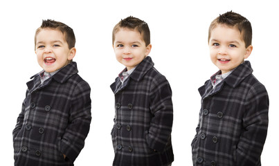 Cute Mixed Race Boy Portrait Variety on White