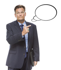 Businessman Pointing to the Blank Thought Bubble on White