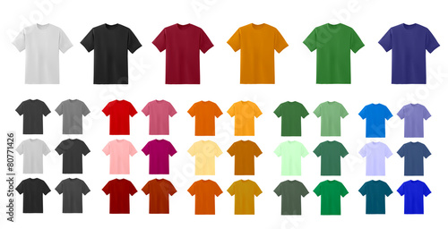 Big t-shirt templates collection of different colors poster