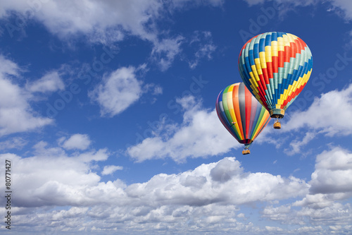 Deurstickers Ballon Hot Air Balloons In The Beautiful Blue Sky