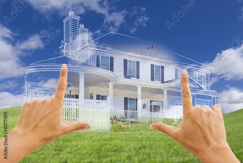 Female Hands Framing House Drawing and House Above Grass - 80771441