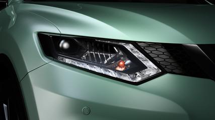 Nahaufnahme der Scheinwerferfront eines modernen SUVs